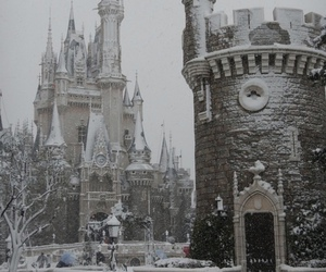 snow, castle, and disney image