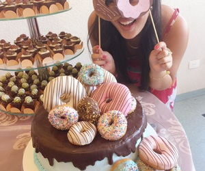 birthday, cake, and donnuts image