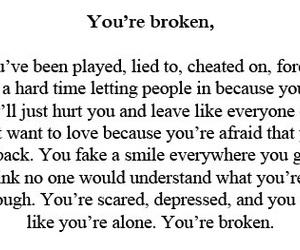 broken, hurt, and quote image