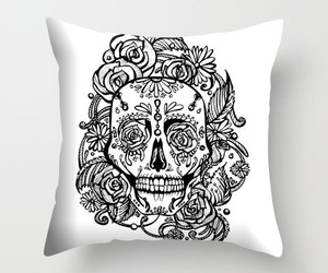 gift, pillow cover, and sugar skull roses image