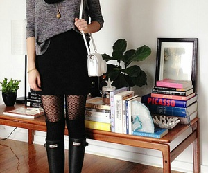 black tights, grey sweater, and gold necklaces image
