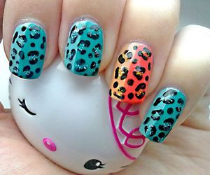 hello kitty, nails, and blue image
