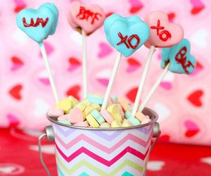 cake pops, candy, and conversation hearts image
