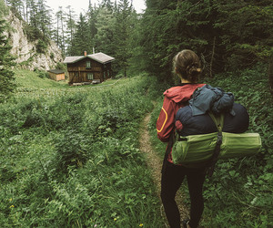 cabin, forest, and girl image