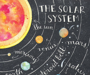 art, solar system, and watercolor image