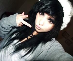girl, black hair, and hair image