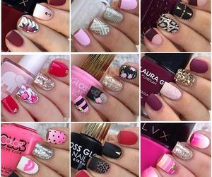 black nails, nails, and pink nails image