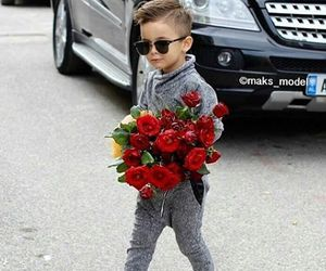 boy, baby, and flowers image