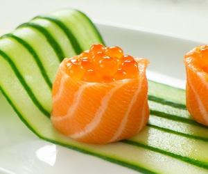fish, japan, and salmon image