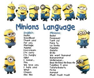 minions, language, and funny image