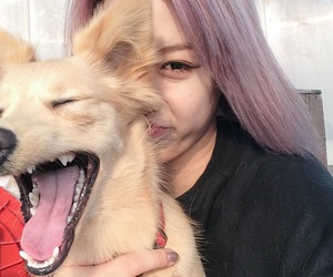 girl, asian, and dog image