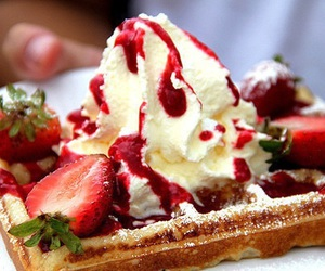 berries, strawberry, and whipped cream image