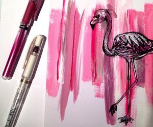 art, drawing, and flamingo image