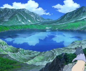 anime, lake, and landscape image