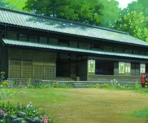 anime, house, and landscape image