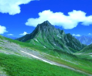 anime, blue, and mountain image