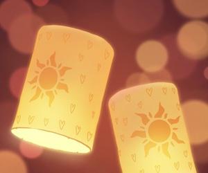 disney, tangled, and floating lanterns image