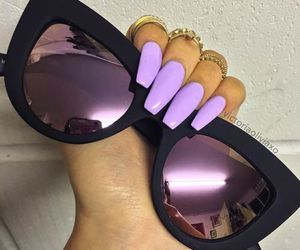 nails, makeup, and sunglasses image