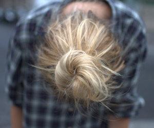 girl, bun, and hair image