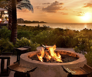fire, sunset, and luxury image