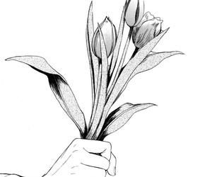 anime, black and white, and flower image
