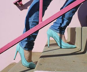 blue stilettos, turquoise high heels, and spring pumps image