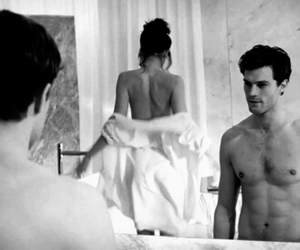 black and white, fifty shades of grey, and love image