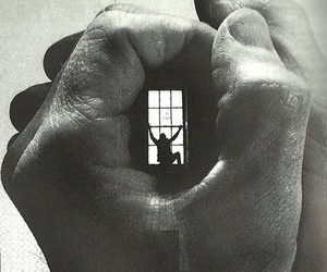 black and white, window, and hand image