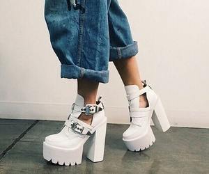 shoes, white, and jeans image