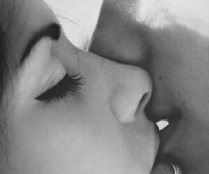 black and white, couples, and kiss image