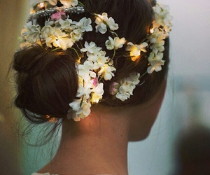 flowers, hair, and light image