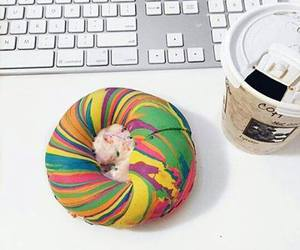 bagel, coffee, and colorful image