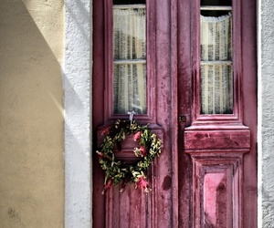 door, flowers, and pink image