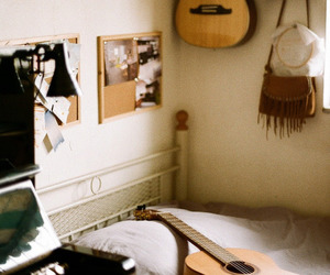 guitar, room, and music image