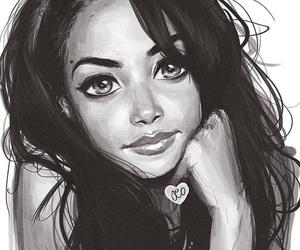 art, aaliyah, and drawing image