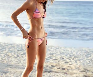 beach, Behati Prinsloo, and fitness image