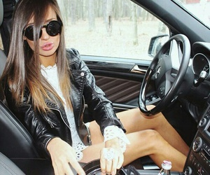 girl, mercedes, and sunglases image