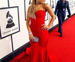 ariana grande, grammy, and red carpet image