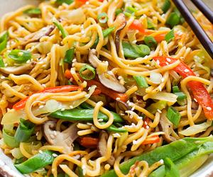 food, pasta, and stir fry image