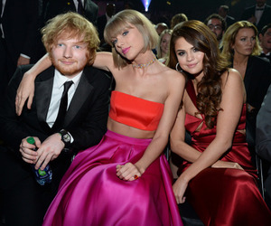 Taylor Swift, selena gomez, and ed sheeran image