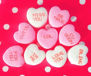 candy, conversation hearts, and hearts image