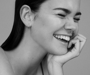 maia mitchell, black and white, and piercing image
