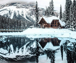 cottage, frozen, and reflection image