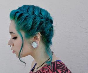 hair, piercing, and blue image