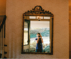girl, mirror, and window image