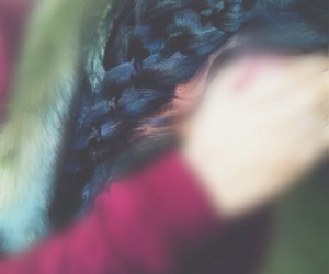 black hair, maroon, and braided hairstyle image