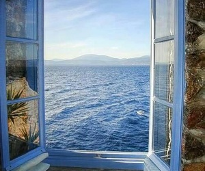 sea, window, and blue image