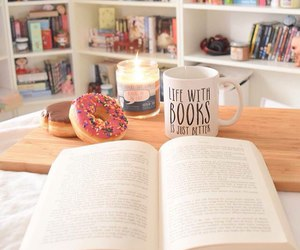 book, donuts, and candle image