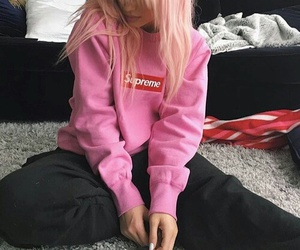pink, kylie jenner, and supreme image