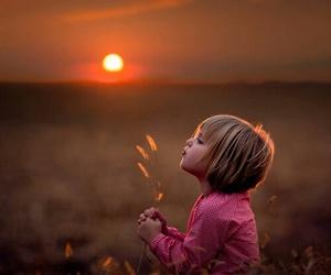 child, sunset, and زهور image